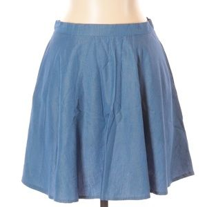 [a16-5] Lulu's Short Solid Blue Chambray Skirt